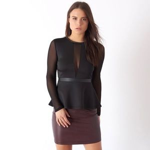Dynamite Peplum Black Faux-Leather Mesh Sleeve Top